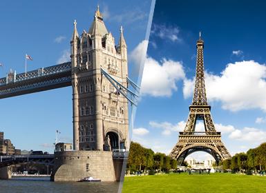 Sul da Europa e Inglaterra: Paris e Londres de avião