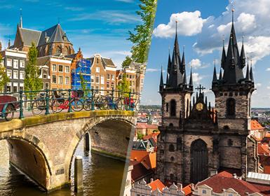 Noroeste e Centro da Europa: Praga e Amesterdão de avião