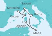 Itinerário do Cruzeiro Itália, França, Córsega, Malta - Costa Cruzeiros