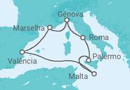 Itinerário do Cruzeiro França, Itália, Malta, Espanha - MSC Cruzeiros