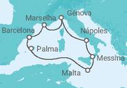 Itinerário do Cruzeiro Espanha, França, Itália, Malta - MSC Cruzeiros