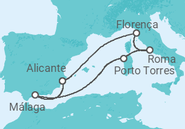 Itinerário do Cruzeiro Espanha, Itália - Pullmantur
