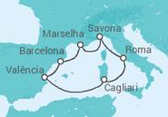 Itinerário do Cruzeiro Espanha, Itália, França - Costa Cruzeiros