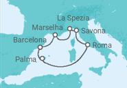 Itinerário do Cruzeiro Espanha, Baleares, Itália, França - Costa Cruzeiros