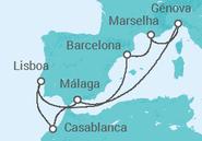 Itinerário do Cruzeiro Mediterrâneo Ocidental  - MSC Cruzeiros