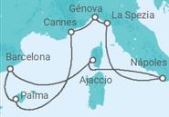 Itinerário do Cruzeiro Espanha, França, Itália - MSC Cruzeiros