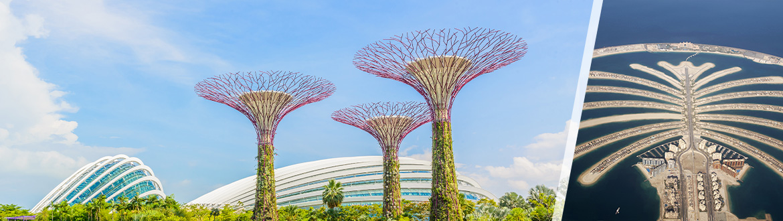 Emirados Árabes e Singapura: Dubai e Singapura, ao seu gosto flexível em noites