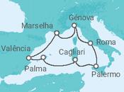 Itinerário do Cruzeiro Fascínio de Itália e encanto de Espanha - MSC Cruzeiros