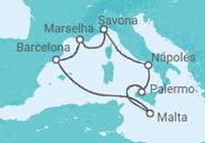 Itinerário do Cruzeiro Espanha, França, Itália, Malta - Costa Cruzeiros