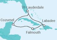 Itinerário do Cruzeiro Caraíbas Exóticas - Royal Caribbean