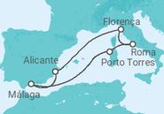 Itinerário do Cruzeiro Lendas do Mediterrâneo - Pullmantur