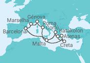 Itinerário do Cruzeiro França, Espanha, Malta, Grécia, Itália - MSC Cruzeiros
