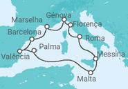 Itinerário do Cruzeiro O Estreito da Sicília - MSC Cruzeiros