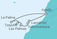 Itinerário do Cruzeiro Ilhas Canárias - Pullmantur