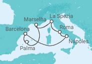Itinerário do Cruzeiro Mediterrâneo Clássico - Royal Caribbean