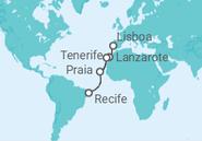 Itinerário do Cruzeiro De Lisboa a Recife - Pullmantur
