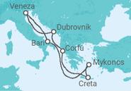 Itinerário do Cruzeiro Itália, Grécia, Croácia - DRINK - MSC Cruzeiros