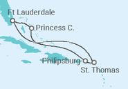 Itinerário do Cruzeiro Caraíbas Orientais - Princess Cruises