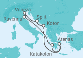 Itinerário do Cruzeiro Itália, Grécia, Montenegro, Croácia - NCL Norwegian Cruise Line